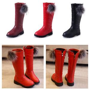 Baby-Kids-Girls-Knee-High-Boots-Wedge-Heel-Back-Zipper-Shoes-Wedding-Party-Boots