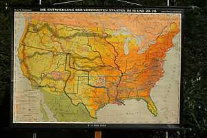 Details about Wall Map America Development Top 194x135 America Vintage USA  Expansion Map 1968