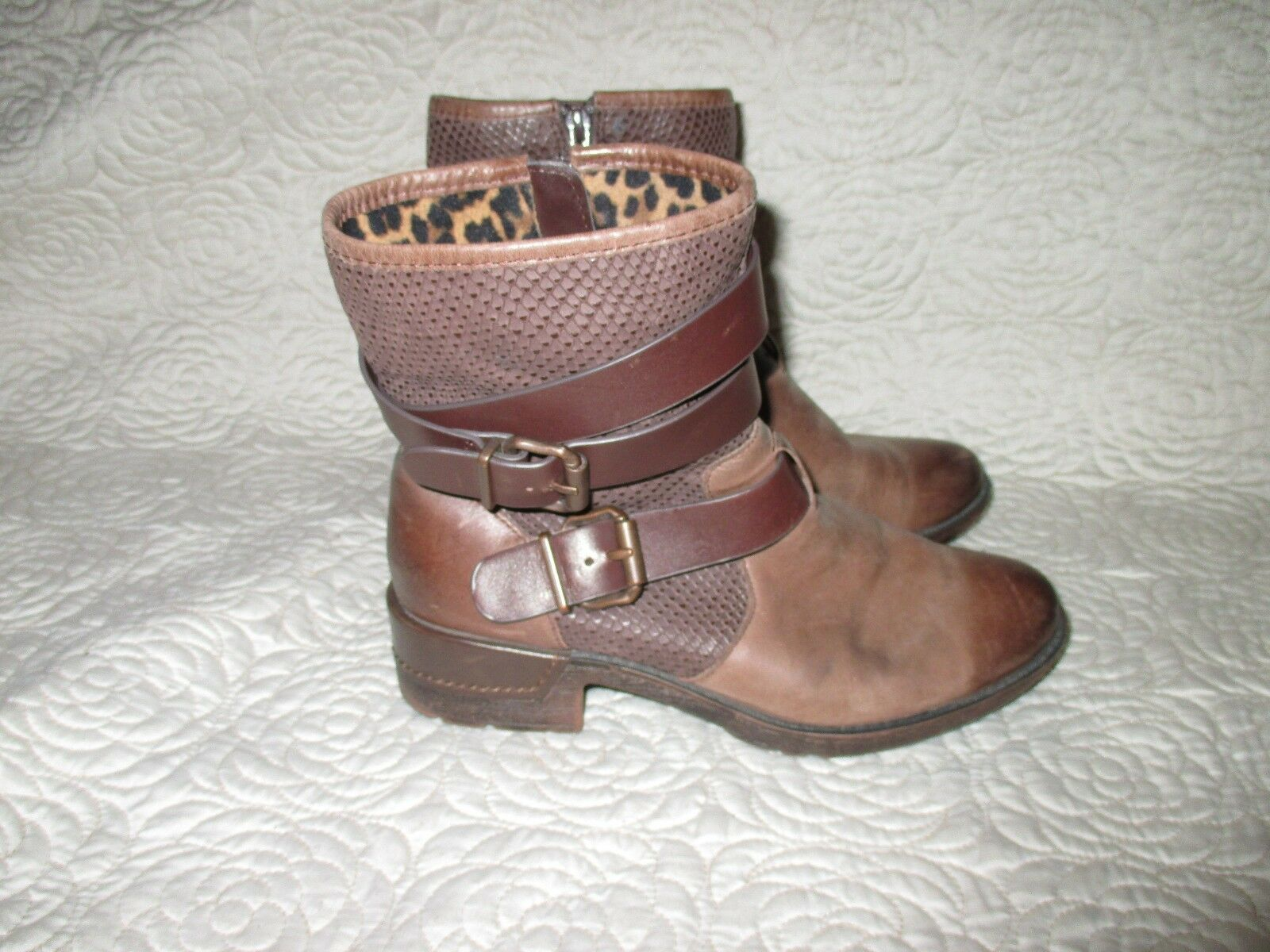 SOFFT Saxton Whiskey Brown Leather Boots Boots Boots Women's Size 8.5 M Buckle Ankle ce0c6f