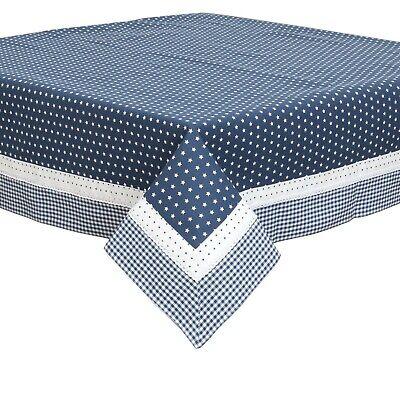 "GINGHAM CHECK BLUE WHITE SQUARE 34X34"" 90X90CM TABLE CLOTH"