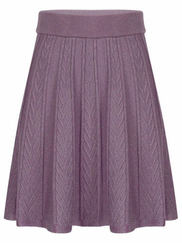 Womens High Waist Thick Sweater Skirt Shiny Cable Knit Flared Pleated Mini Skirt