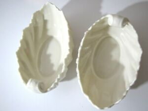 Lenox-Leaf-Bowls-Set-2-Acanthus-Ivory-Shell-Serving-Dish-Candy-Blue-Stamp-6-034