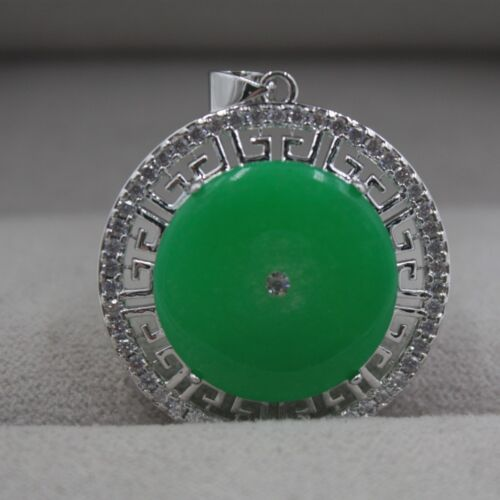 New Gift 18k GP Alloy /& Green Jade Pendant Woman Lucky Round Zircon Pendant