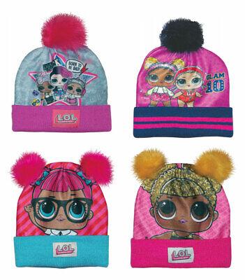 LOL SURPRISE Girls Winter Warm Fleece Pom Pom Bobble Beanie Hats Character Gift