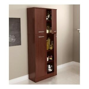food pantry cabinet with doors tall wood free standing kitchen storage cherry ebay. Black Bedroom Furniture Sets. Home Design Ideas