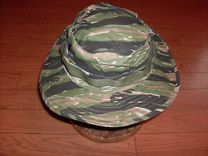 U.S MILITARY STYLE TIGER STRIPE BOONIE CAMOUFLAGE FLOPPY BUCKET HAT SIZE 7 1/4