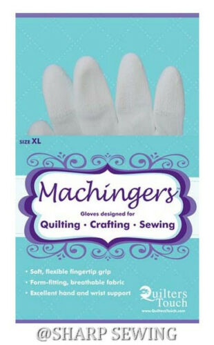 MACHINGERS EXTRA LARGE QUILTING SEWING GLOVES # 7243XL BY QUILTER/'S TOUCH