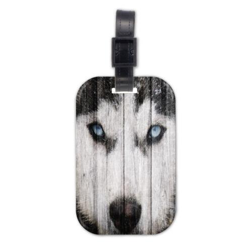Siberian Husky Dog Doggy Lovely Wood Travel Luggage Tag Bag Accessory