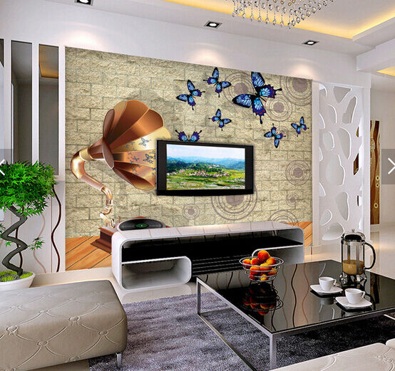 3D Butterfly Record Paper Wall Print Wall Decal Wall Deco Indoor Murals