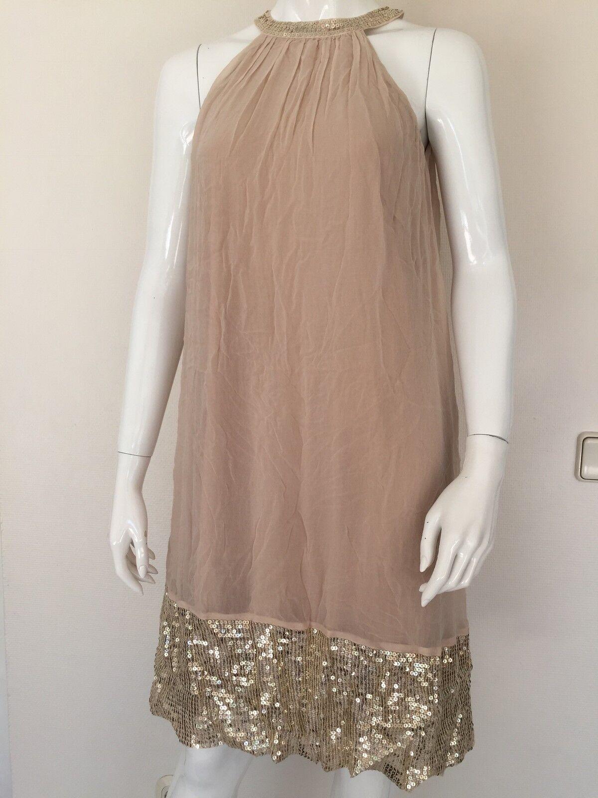 Mellow Peach Kleid, Hängerchen, Babydoll, Nude, Goldene Pailletten, Traum, 36