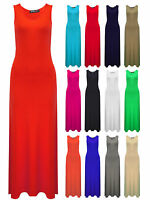 Womens Maxi Dress Black Red Navy Orange Pink Ladies Brand New Size 8 10 12 14