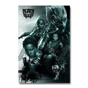 Black Panther Superhero Movie Art Silk Fabric Poster Canvas Print 24x36 inch