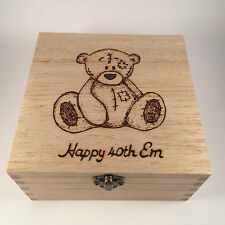 Tatty Bear Keepsake box wooden handcrafted pyrography personalised wood