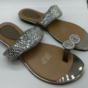 Details about Women's Sparkle Glitter Sandals Flats SZ 36 39 40 41 Silver Brown Beaded Beach