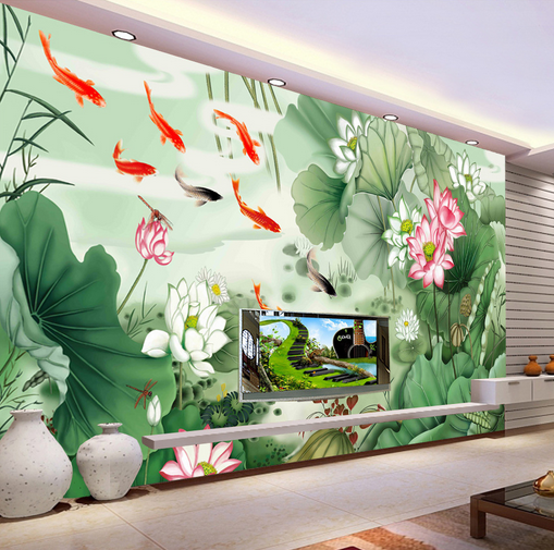 3D Carp Lotus Leaves Painted Paper Wall Print Wall Decal Wall Deco Indoor Murals