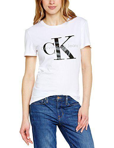 Calvin Klein Jeans Lumineux Femme T Shirt Blanc Lumineux Jeans ratatiné CK Livraison dans le monde entier 19fc49