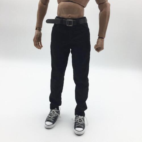 """Schwarze 1//6 Hose mit Gürtel für 12 /""""männliche Figur Charaktermodell"""