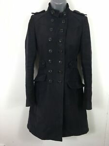 WOMENS-KAREN-MILLEN-NAVY-BRUSHED-COTTON-DOUBLE-BREASTED-FITTED-LONG-COAT-UK-6