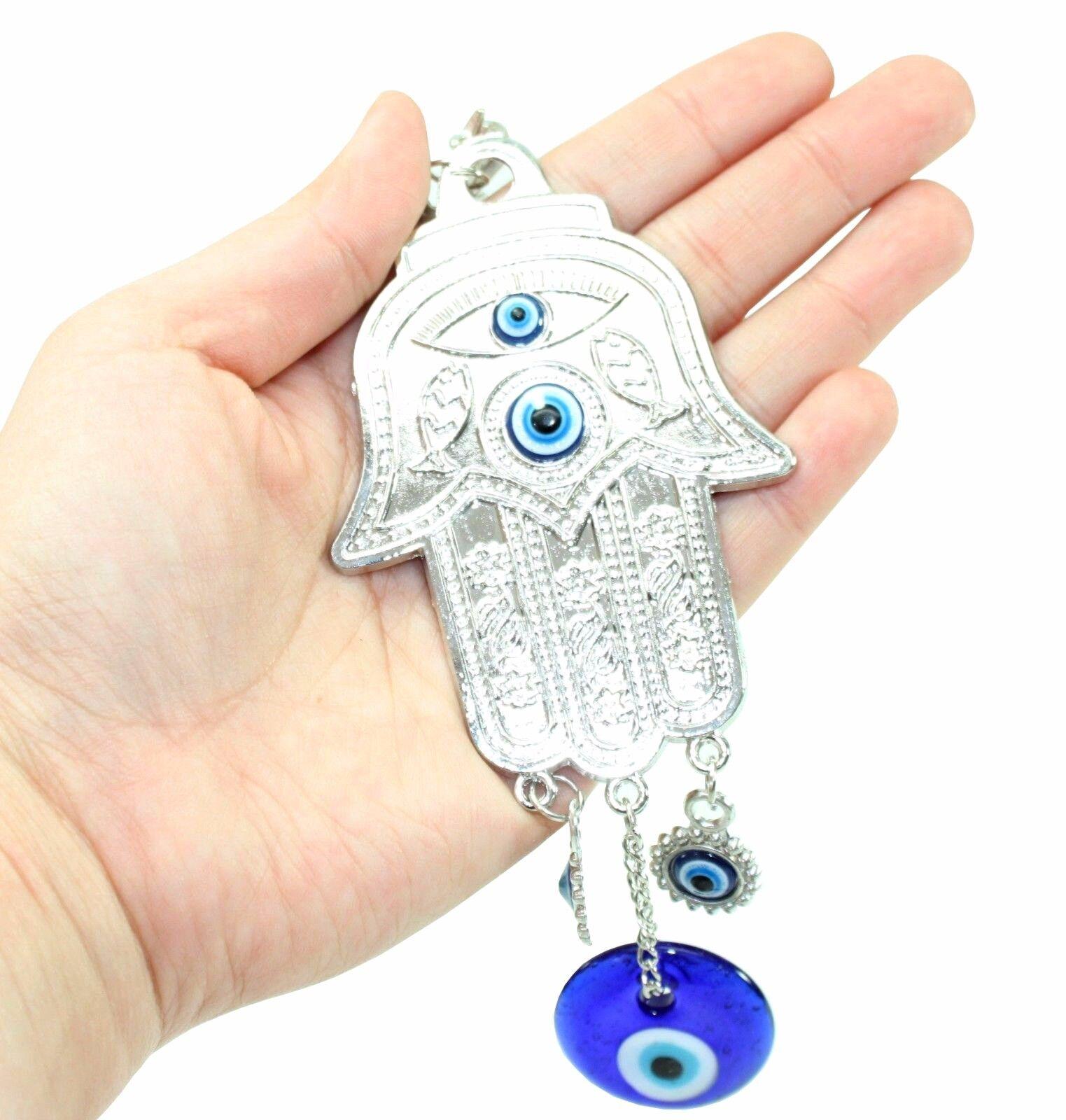 Turkish Blue Evil Eye Silver Hamsa Hand Amulet Wall