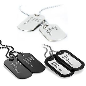 Men-039-s-Army-Military-Black-Silver-Tone-Alloy-ID-2-Dog-Tags-Pendant-Necklace-Chain