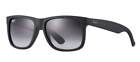 Ray-Ban Rb4165 Justin 601 Sunglasses Matte Black Frame Grey Gradient Lens 54mm