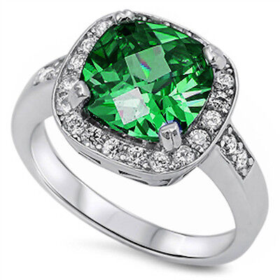 4 CARAT GREEN EMERALD COCKTAIL .925 Sterling Silver Ring Sizes 4-10