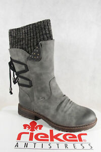 Details about Rieker tex Women's Boots Ankle Boots Grey Warm Lining 94773 New
