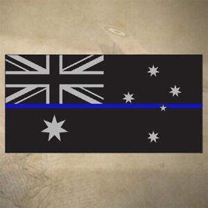 AUSTRALIAN-THIN-BLUE-LINE-FLAG-DECAL-STICKER-100mm-x-50mm-POLICE-EMS