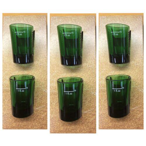 NEW! JAGERMEISTER Set Of 6 JAGER GREEN GLASS SHOT GLASSES W// EMBOSSED LOGO