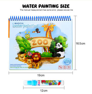 Details About Magic Water Painting Drawing Coloring Book Mat Animal Kids Doodle Paint Toy Au