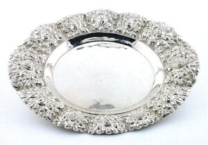 ONE-VINTAGE-LATE-1800-Early-1900-800-STERLING-SILVER-FLORAL-BOWL-DISH-AS44