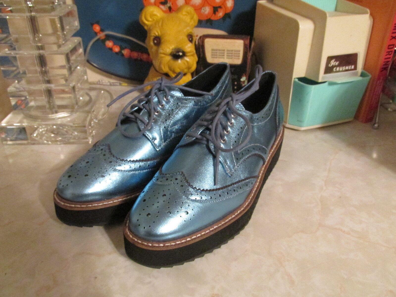 Shellys London Emma bleu Metallic Shiny Low Platform Wingtip Oxford chaussures EU39 9