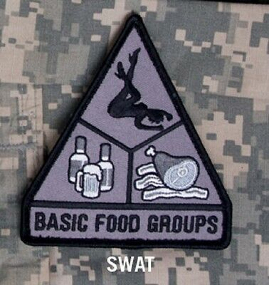 BASIC FOOD GROUPS HOOK TACTICAL BADGE MORALE MILITARY PATCH SWAT