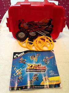 K-NEX BUILDING SET 275 PIECE 22 MODELS TO BUILD ALL SHAPES AND SIZES COMPLETE
