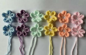 12-X-Handmade-Rainbow-Crochet-Applique-Embellishment-Daisy-Flowers-4-5cm