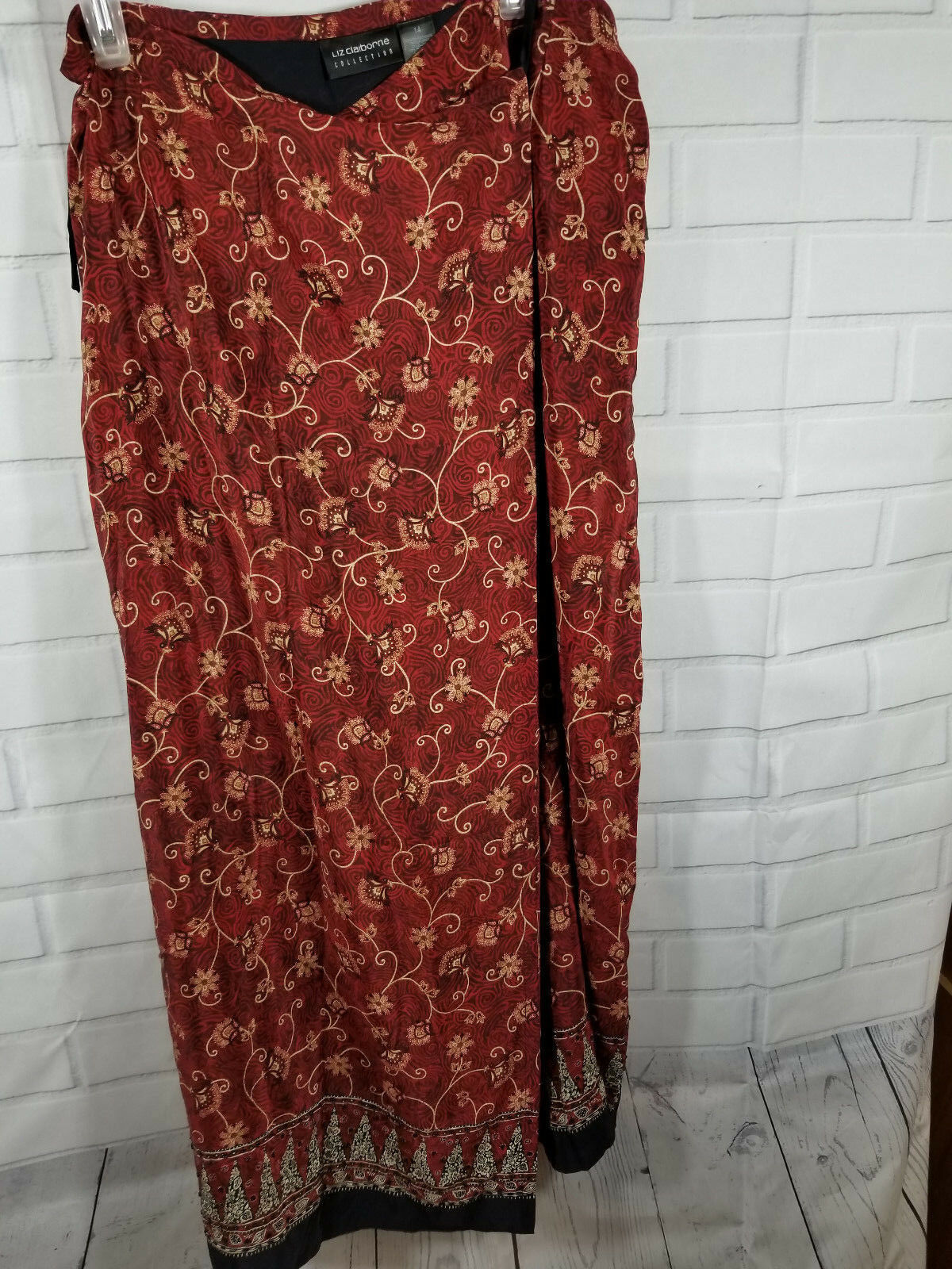 NWT Liz Claiborne Skirt Size 14 100% Silk Faux Wrap Burgundy Floral Print  109