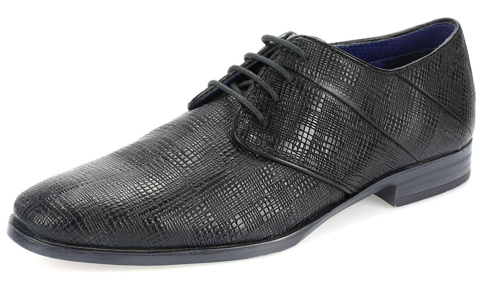 Bugatti Business-Schuhe Herren Leder Halbschuhe Schnürschuhe 44605 Schwarz