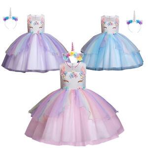 Z-YQL Girls Rainbow Tutu Skirt with Unicorn Tshirt and Horn Headband Outfits Birthday