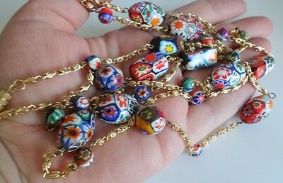 Old Venetian Murano Millefiori Art Glass Large Beads Necklace Italy