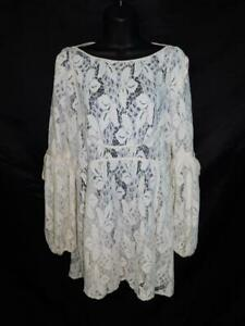Free People M Ivory White Lace Tunic Mini Dress Long Sleeve Elbow Ties Sheer Md
