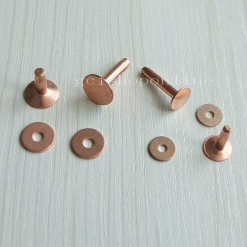 10 20 100 Solid Red Copper Rivets Burrs Permanent Fasteners Gauge Tack 9mm 12mm