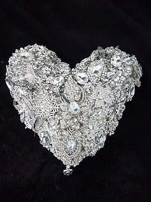 """Heart brooch bouquet Wedding brides brooch Bouquet 6"""""""