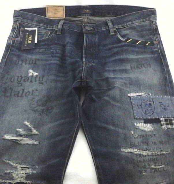 Polo Ralph Lauren The Classic Fit Distressed Patch Jeans Blue Men 36 X 32 For Sale Online Ebay