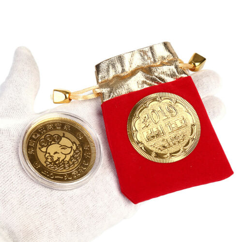 Gold Pig Commemorative Coin Year of Pig Coins New Year Gifts with Drawstring M8Y