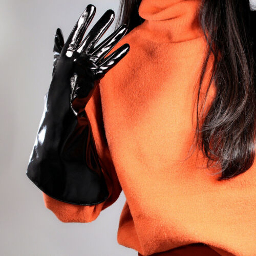 PATENT LONG GLOVES Unisex Faux Leather Wide Balloon Puff Sleeves Large Blue 38cm