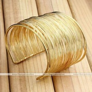 Gold-Multilayer-Wire-Open-Cuff-Wristband-Bangle-Bracelet-Women-Jewelry-Punk-Gift
