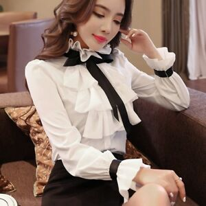 Lady-Girl-Chiffon-Shirt-Slim-Ruffle-Stand-Collar-Long-Sleeve-Top-Blouse-Retro