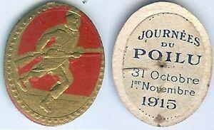 Insigne-de-journees-1914-1918-Journee-poilu-1915-rouge-personnage-tour-dore