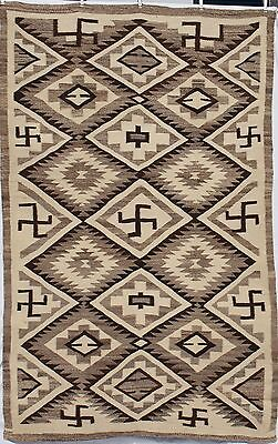 """Navajo Indian Rug Circa 1910 All Natural Wool Whirling Logs 90"""" x 57 1/2"""""""