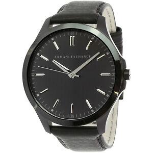 Armani-Exchange-Men-039-s-AX2148-Black-Leather-Japanese-Quartz-Dress-Watch